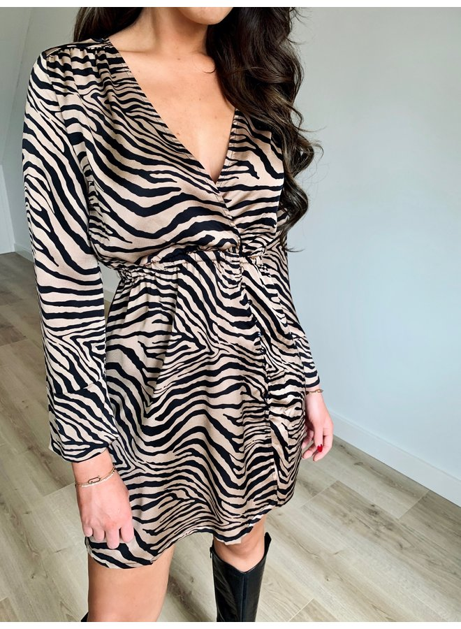 Rachel zebra dress - beige