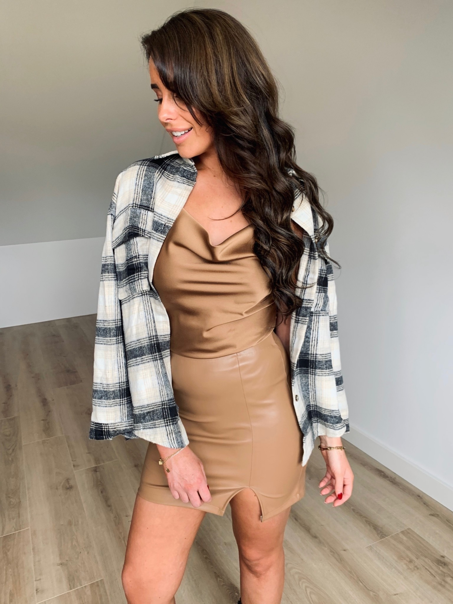 Isabelle leather look skirt camel