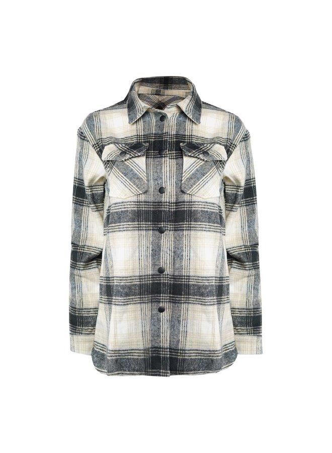 Vajen checkered blouse  - black/beige