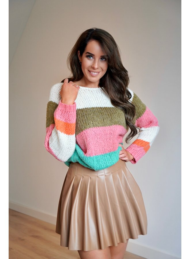 Lois striped pullover - turquoise/pink