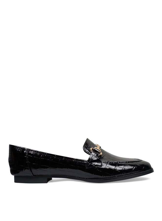 Lizzy croco loafers - black