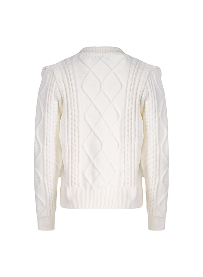 Cable pullover - white