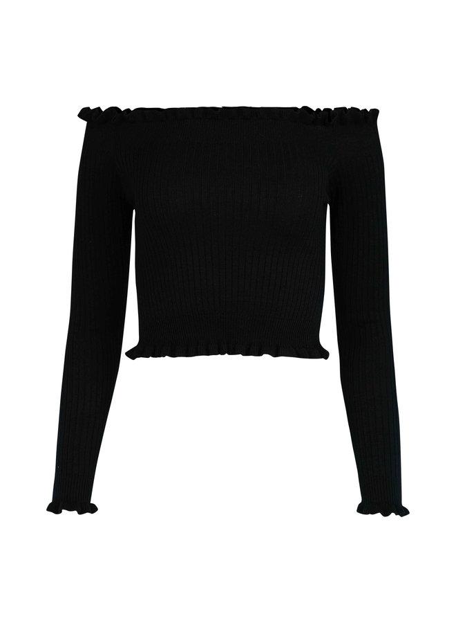 Yentle ruffle top - black