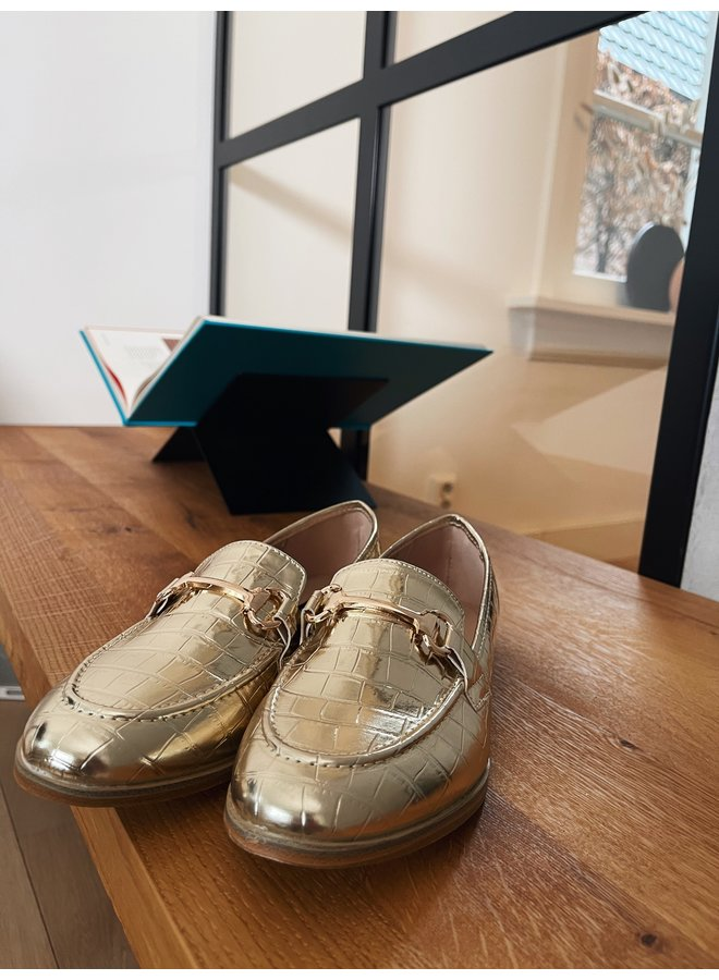Lizzy croco loafers - gold