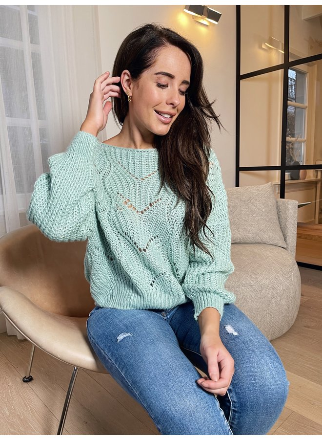 Lis knitted pullover - mint