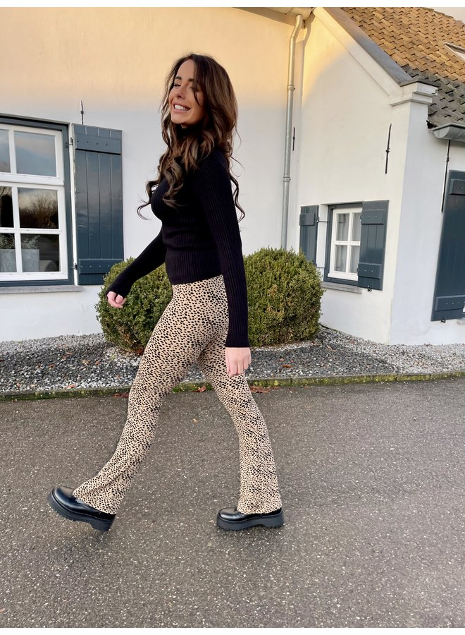 Elin dots flared pants - taupe