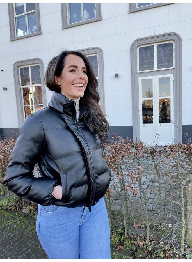 Lux bomber leatherlook jacket - black