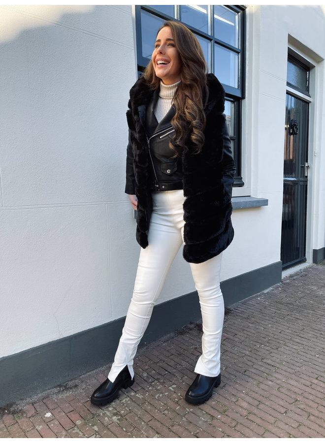Marilon split leatherlook pants - white