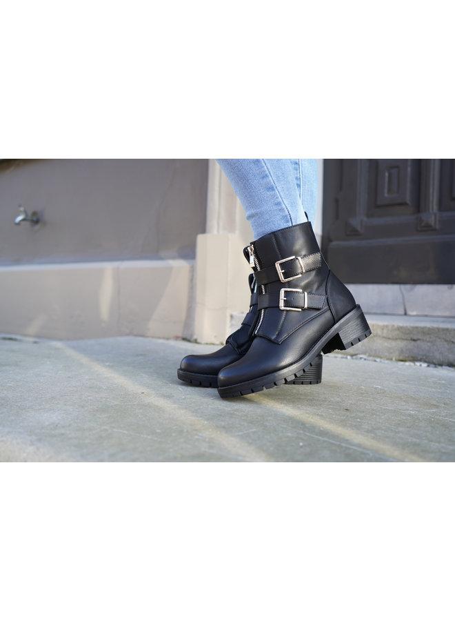 Lowie  buckle boots - black/silver