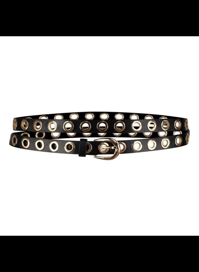 Sam leatherlook belt - black/gold