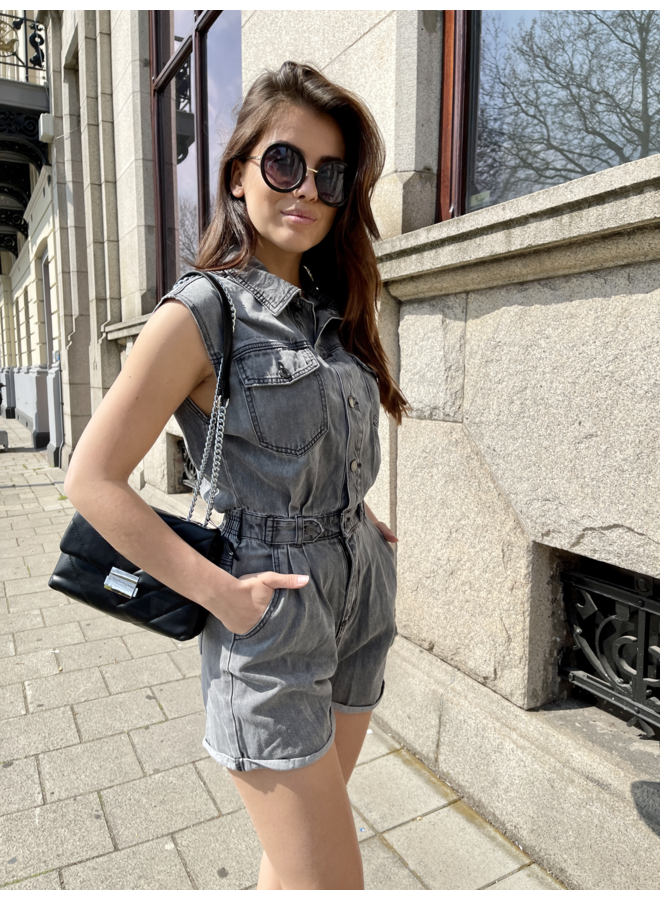 Layla denim playsuit - grey