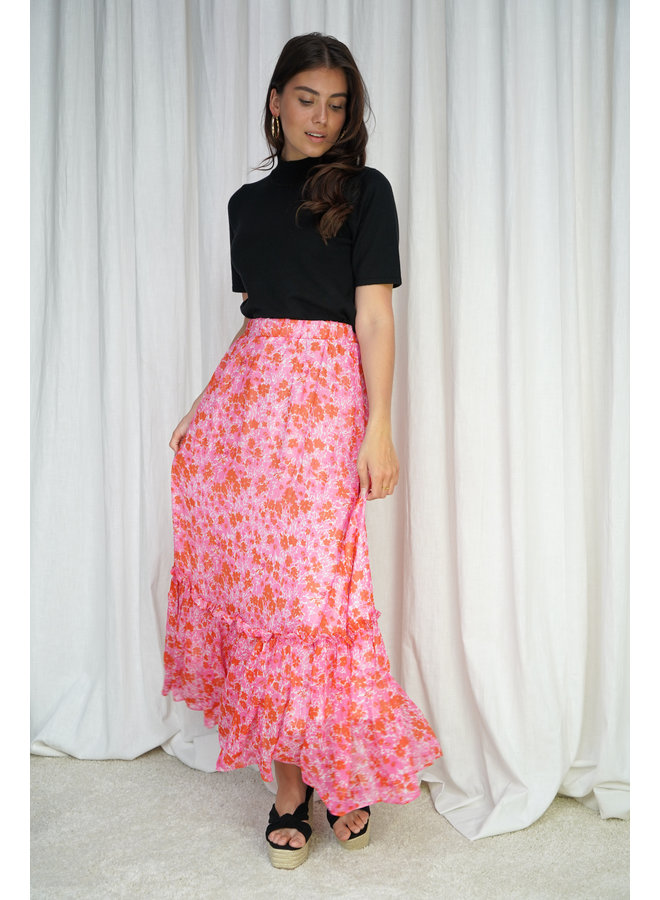 Jessie long skirt - pink/red