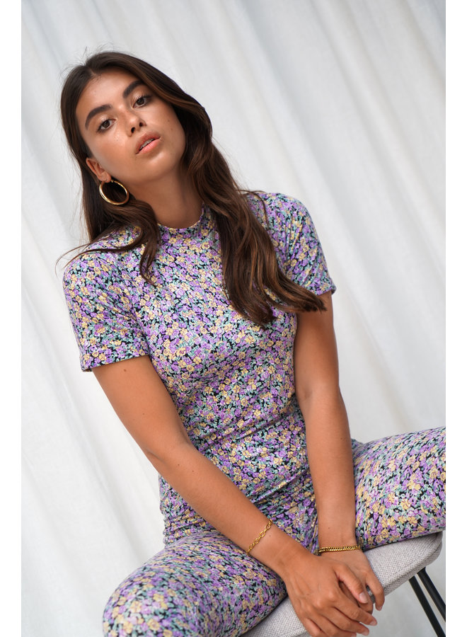 Maily flower top - purple/yellow