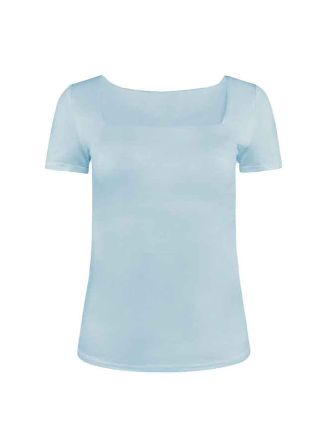 Shenell squared neck top - light blue