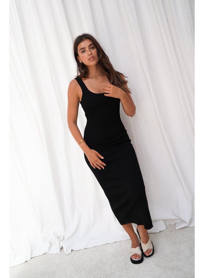 Charline rib dress - black