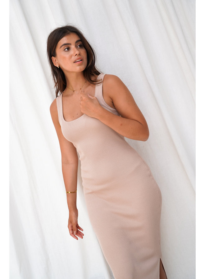 Charline rib dress - taupe