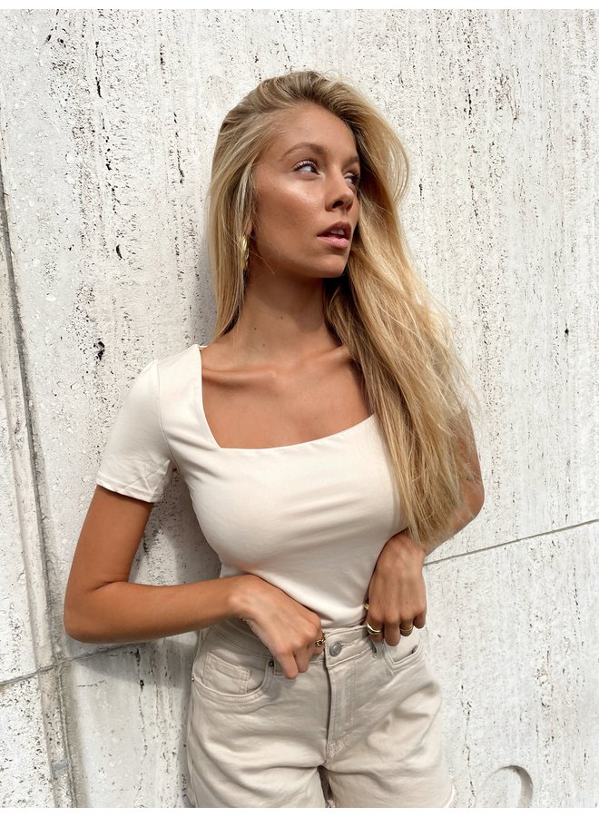 Shenell squared neck top - beige