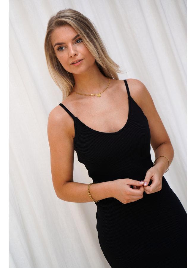 Philou long rib dress - black