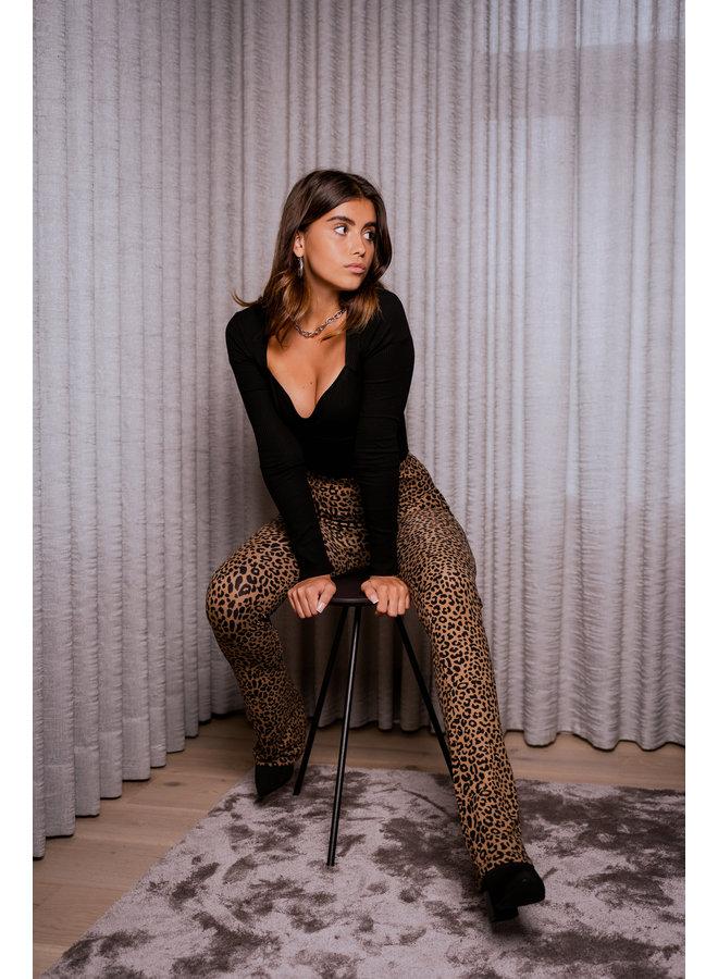 Elin leo flared pants - brown/black