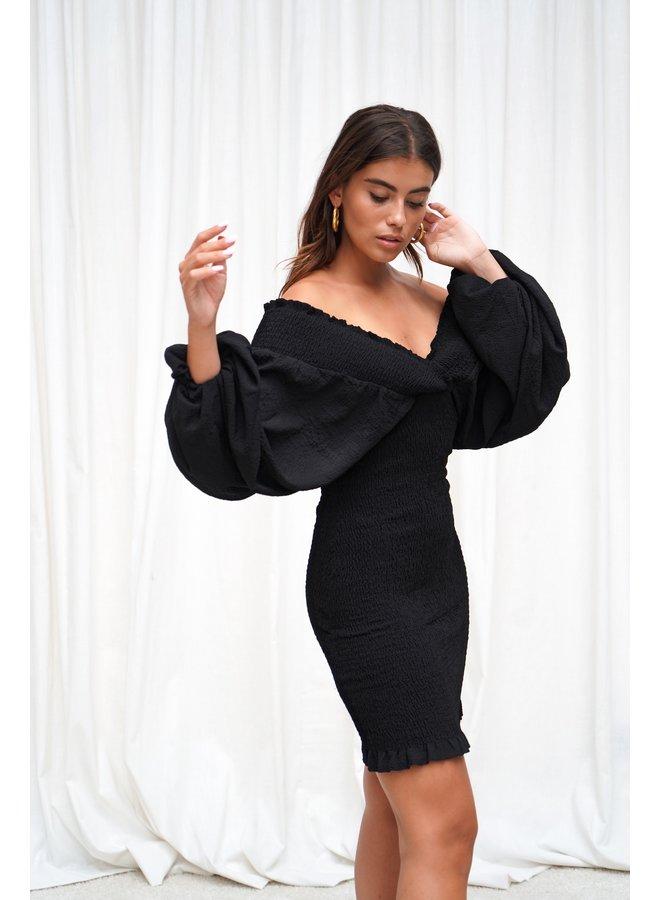 Giny smock jurk- zwart