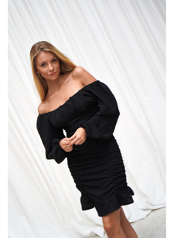 Blom jurk- zwart