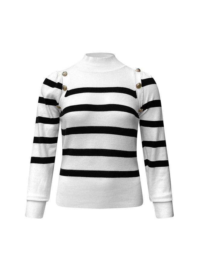 Kate col top - wit/zwart