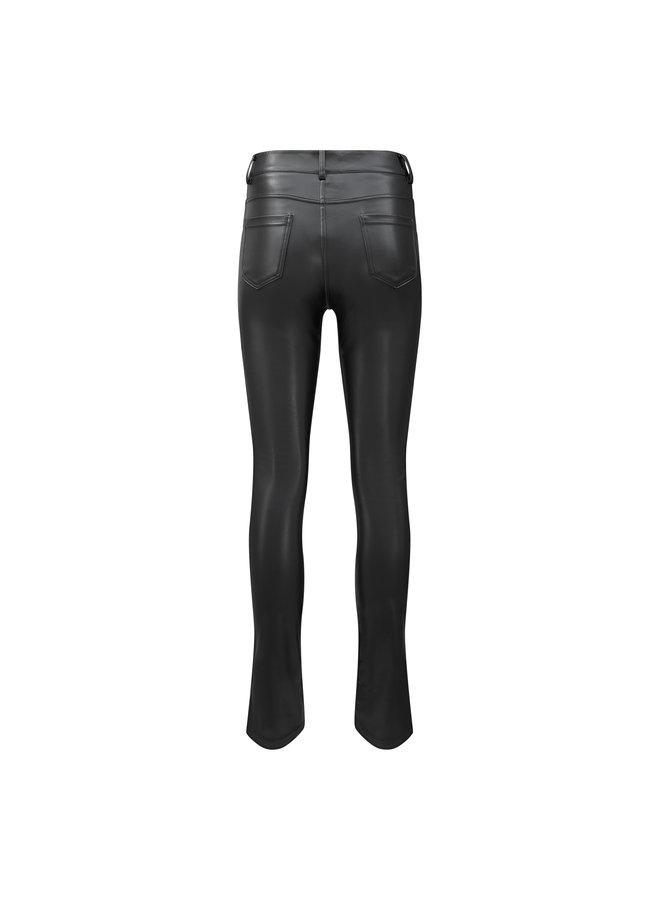 Anke leatherlook split pants - zwart