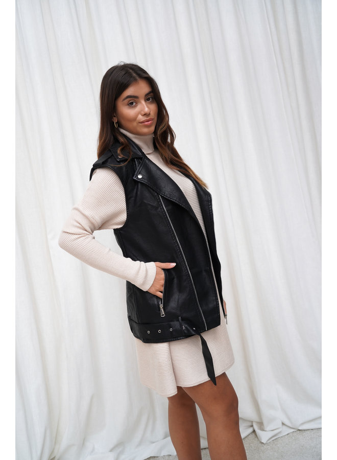Flo leatherlook gilet - zwart