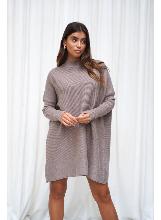 Vina knit jurk - donker taupe