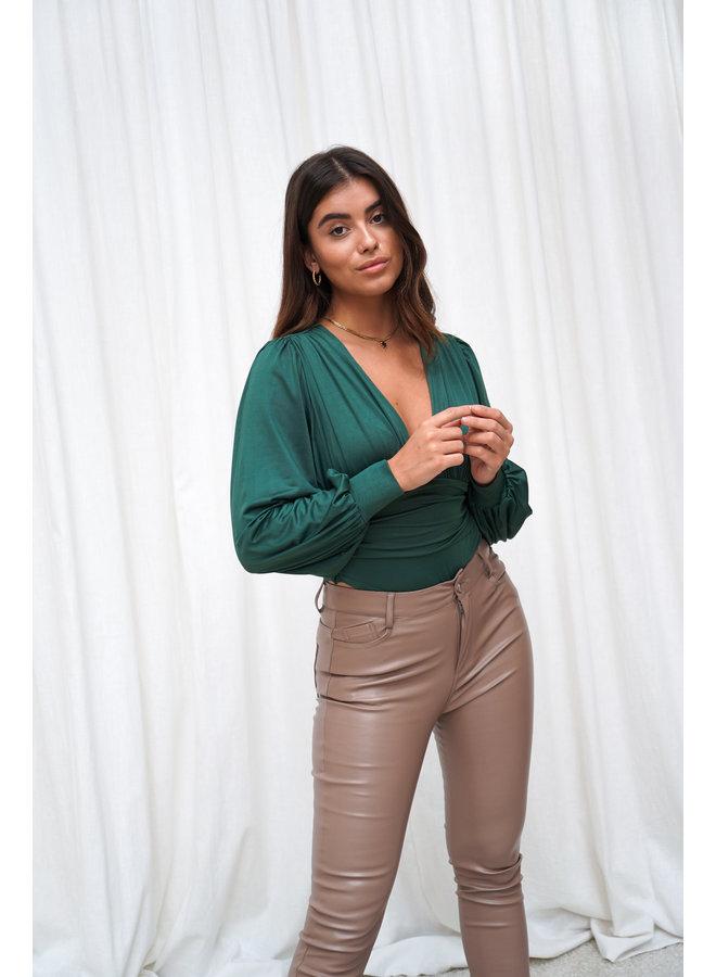 Anke leatherlook split pants - camel