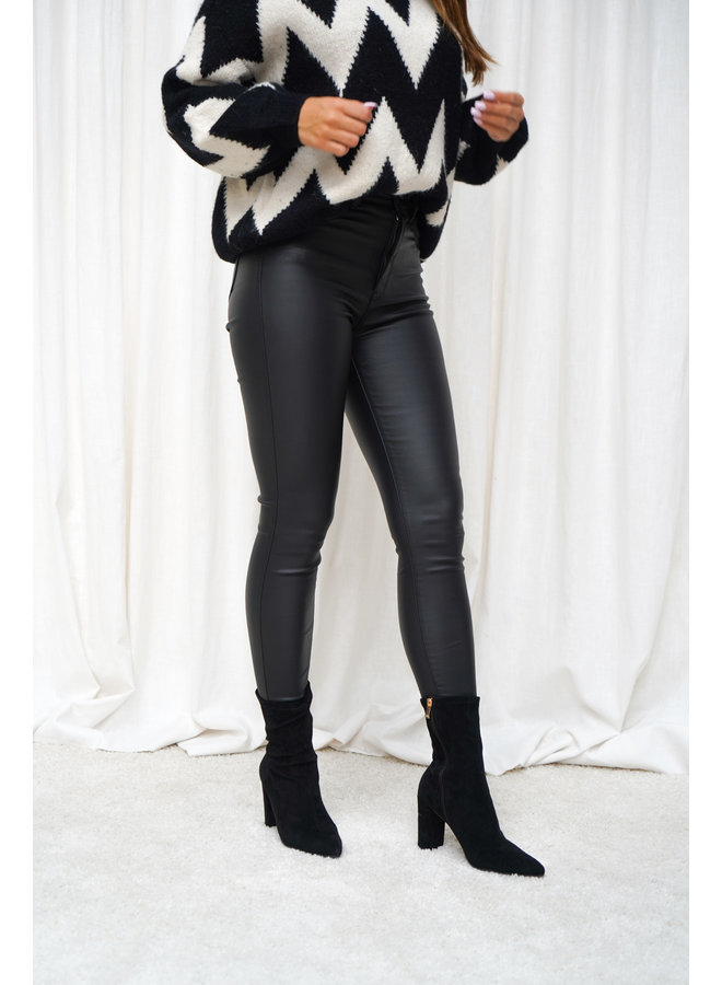 Janna leatherlook jeans - zwart