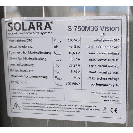 Solara Zonnepaneel S750P36 180Wp Glas/Glas - 1500x680x40mm