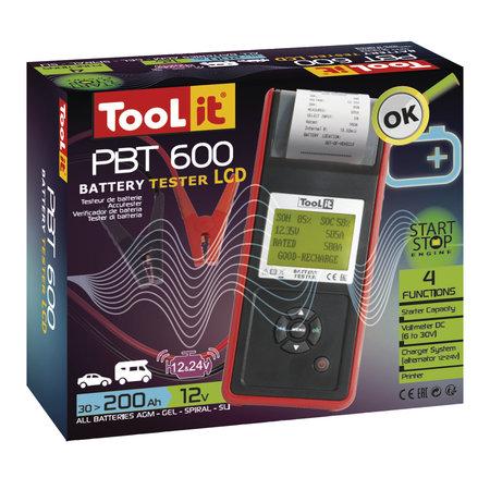 TooLit accutester PBT 600 voor loodaccu's 12/24V   30-200Ah   met LCD en printer