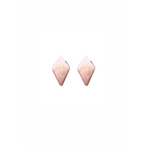 Dutch Basics Diamond Shaped Stud Earrings 'RUIT' - Rose