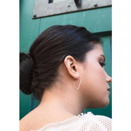 Dutch Basics Diamond Creole Earrings 'Ruit' - Rose