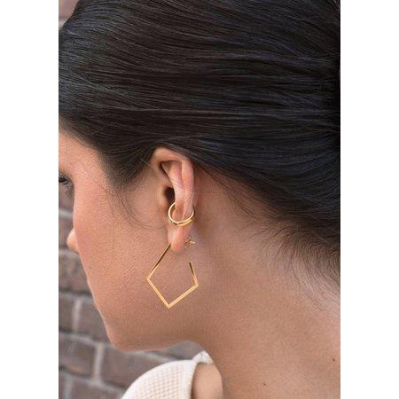 Dutch Basics Diamond Creole Earrings 'Ruit' - Gold Plated