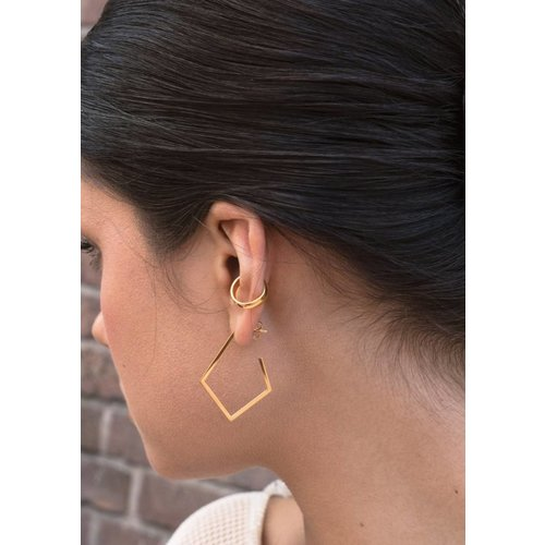 Dutch Basics Diamond Creole Earrings 'Ruit' - Gold Plated