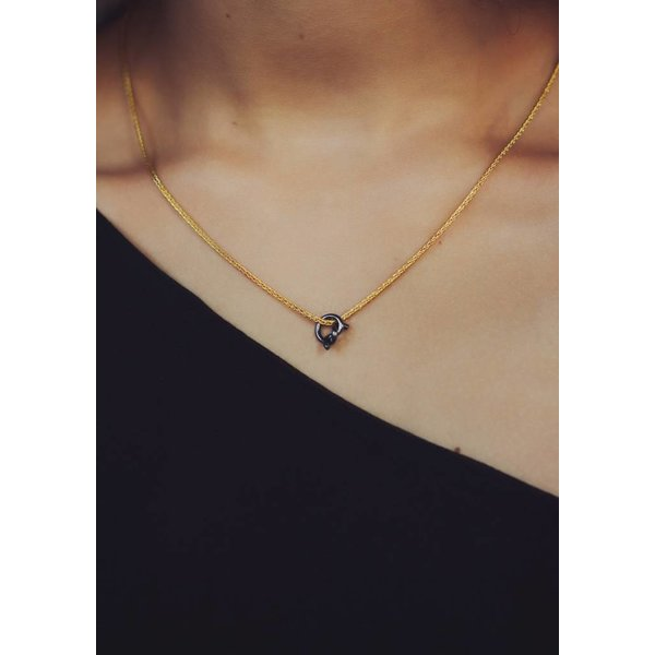Gold Plated Knot Necklace with black knot