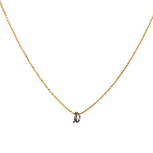 Dutch Basics The Gold Plated Knot Necklace with black knot