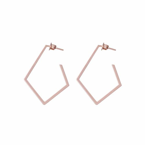 Dutch Basics Diamond Creole Earrings 'Ruit' - Rose