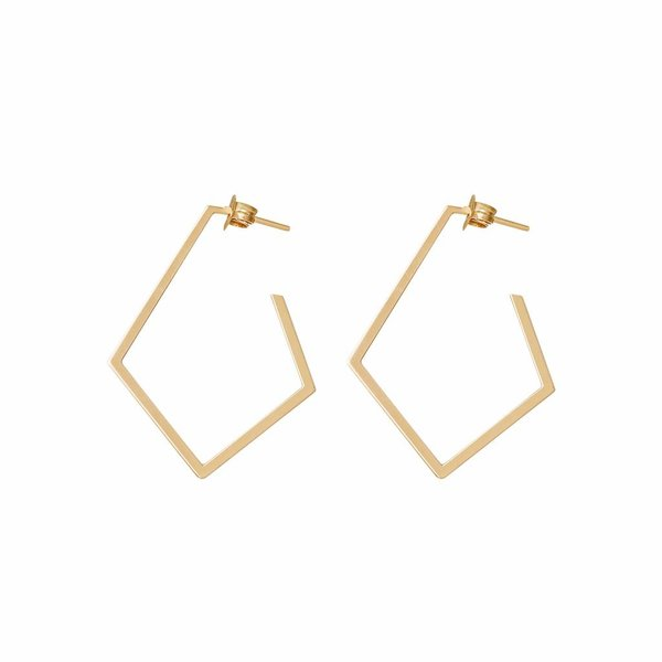 Diamond Creole Earrings 'Ruit' - Gold Plated