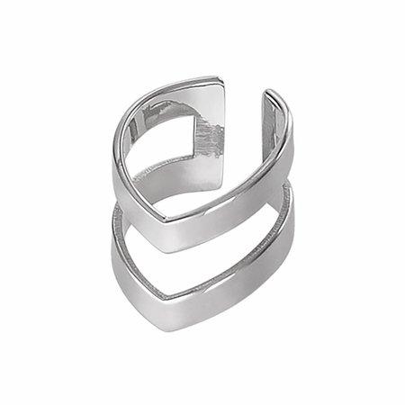 Dutch Basics Silver Double Point Ear Cuff