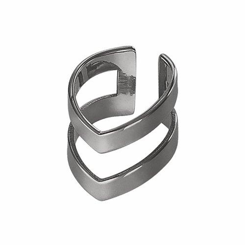 Dutch Basics Oxidized Silver Double Point Ear Cuff