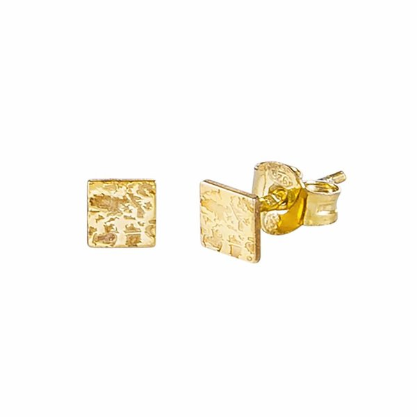 Mini Square Stud Earrings - Gold Plated