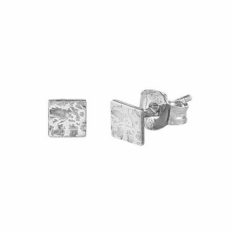 Dutch Basics Mini Square Stud Earrings - Silver