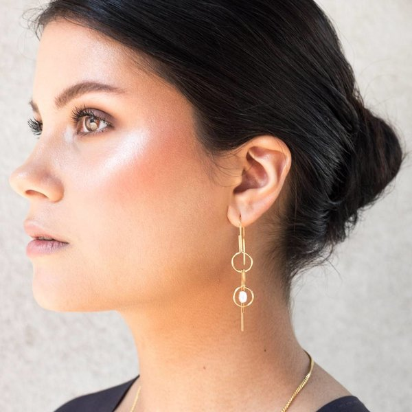 Gold Plated Double Pin Earrings