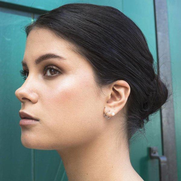 Pearl Twirl Earrings - Silver