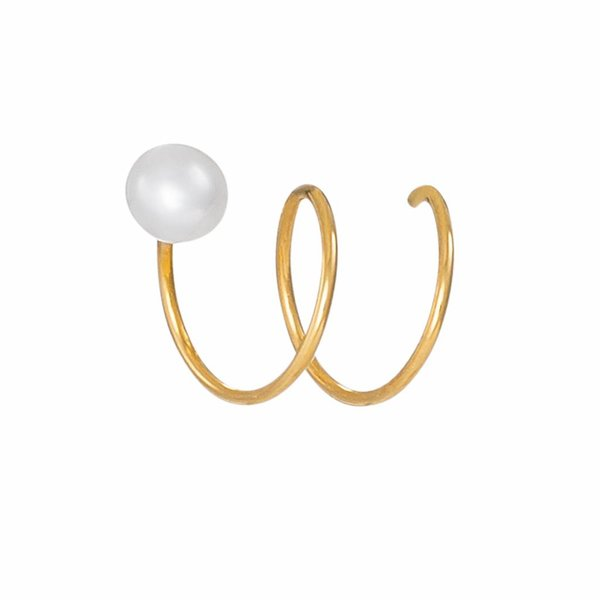 Twirl Earrings with Pearl - Gold Plated Silver