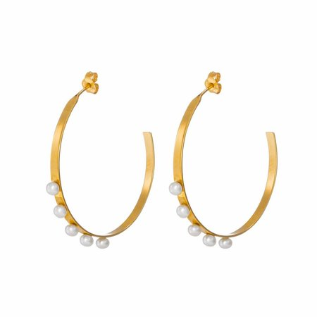 Dutch Basics Pearl Hoop Earrings - Gold Plated