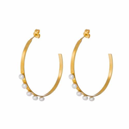Dutch Basics Pear Hoop Earrings - Gold Plated